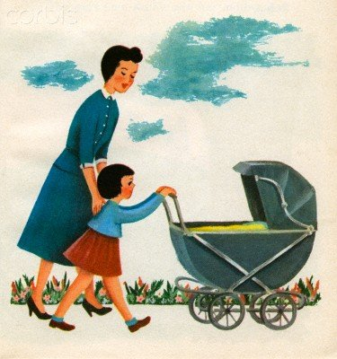 Wallmonkeys Peel and Stick Wall Decals - Illustration of Girl Pushing Baby Carriage - 18