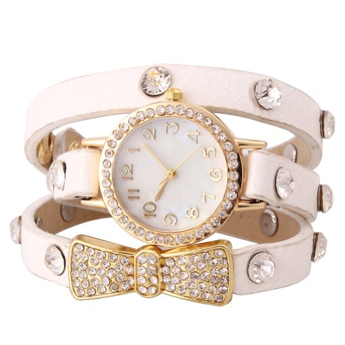 Sotijobs Mori Girls Rhinestones Chain Wrist Watch Pu Leather Band Round Face Butterfly Knot Watch White
