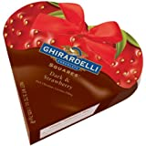 Ghirardelli Chocolate Valentine Dark & Strawberry SQUARES Heart Gift Box, 3.72 oz.