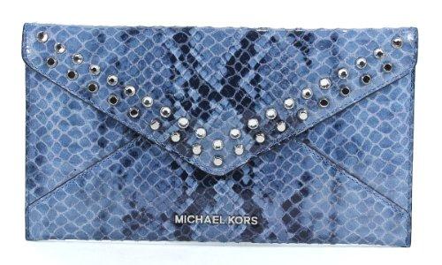 MICHAEL Michael KorsMichael Kors Jet Set Travel Jewel Large Envelope Clutch Denim Leather Wallet