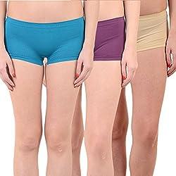 Mynte Women's Sports Shorts (MEWIWCMBP-SHR-104-103-96, Blue, Purple, Beige, Free Size, Pack of 3)