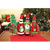 Christmas Party Ugly Sweater Wine Bottle Cover Set of 2 Christmas Wine Bottle Gift Wrap Christmas Table Wine Decor
