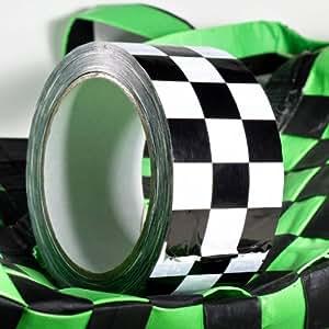 Checker Tape, Bande prime PVC rigide, damier noir / blanc