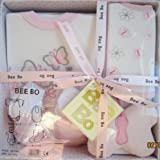Bee Bo Baby Boxed Gift Set Bodysuit Bib Booties and Soft Toy (PINK BUTTERFLY)