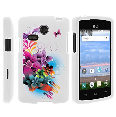 Sunrise Phone Case, Full Body Armor Hard Protector Case Cover with Image Design for LG Sunrise L15G, LG Lucky L16C (Straight Talk, TracFone, Net10) from MINITURTLE | Includes Clear Screen Protector and Stylus Pen - Purple Flower Butterfly (Net10 Lg compare prices)