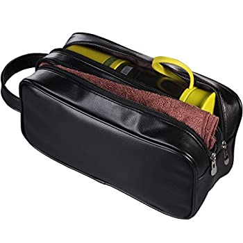 HappyDavid Leather Zipped Travel Toiletry Bag Mens Ladies Supply Toiletry Bag Case 2