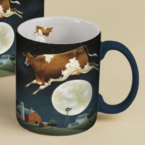 Lang Cow Jumped Over The Moon Mug By Lowell Herrero, 14-Ounce, Multicolor