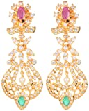 Violet and Purple Alloy Gold Plated Hoop Earrings for Women (1000030145)
