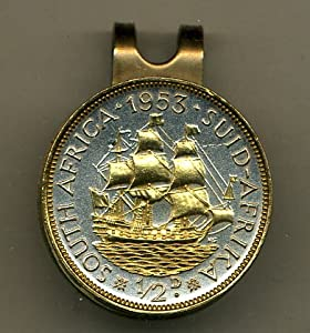 Gorgeous 2-Toned Gold on Silver S. African Sailing ship - coin - Golf Ball Marker -... by J&J Coin Jewelry
