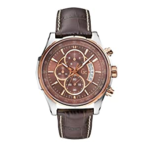 Guess Collection X81002G4S 44 Stainless Steel Case Brown Leather Anti-Reflective Sapphire Men's Quartz Watch