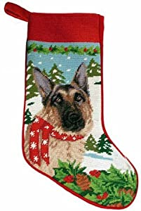 Festive German Shepherd Dog Needlepoint Christmas Stocking