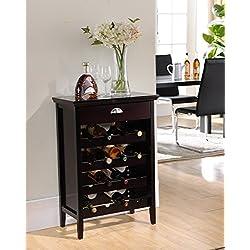 Kings Brand Furniture Wood Buffet Wine Rack Cabinet with Drawer, Dark Cherry