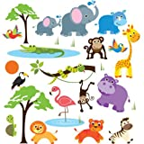 Jungle Safari Wild Animals Nursery Wall Sticker Decals For Boys & Girls