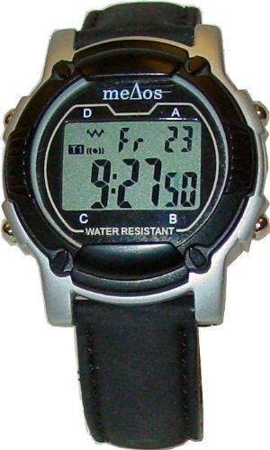 e-pill ADULT MeDose Vibrating 6 Alarm Medication Reminder Watch (color:black/silver, strap: black leather) (991229).