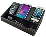 Stock Your Home Black Desktop Electronics Charging Caddy Electronics Organizer Charging Dock and Phone Charging Station Organizer Faux Leather
