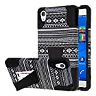 Sony Xperia Z3V Case, MPERO IMPACT X Series Dual Layered Tough Durable Shock Absorbing Silicone Polycarbonate Hybrid Kickstand Case for Xperia Z3V [Perfect Fit & Precise Port Cut Outs] - Black Aztec