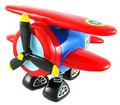 Red & Blue Bi-Plane Bobble Piggy Bank Biplane by Private Label - 1