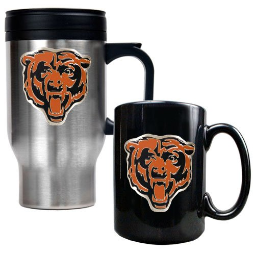 Nfl Chicago Bears Travel Mug & Ceramic Mug Set - Primary Logo front-635608