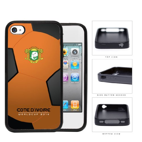 Cote D'Ivoire (Ivory Coast) World Cup 2014 Soccer Ball Rubber Silicone Tpu Cell Phone Case Cover Iphone 4 4S