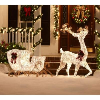Outdoor christmas large decorations with lighted lawn for Christmas deer outdoor decorations