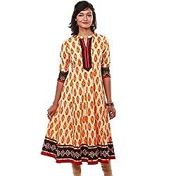 Saamarth Impex Women Cotton Yellow Color Gotta Patti Work V Neck A Line Style Kurti SI-2810