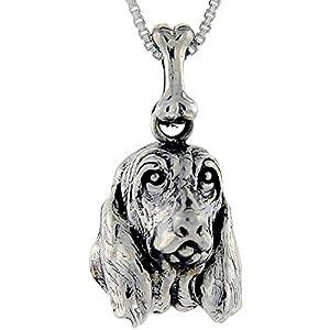 Sterling Silver Basset Hound Dog Pendant ©