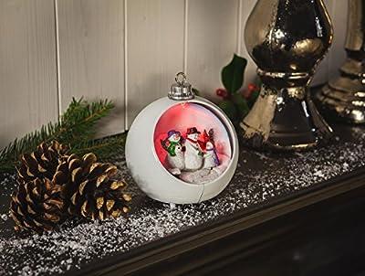 Charming Christmas Bauble Snowman Family Scene LED Lighting. 13cm