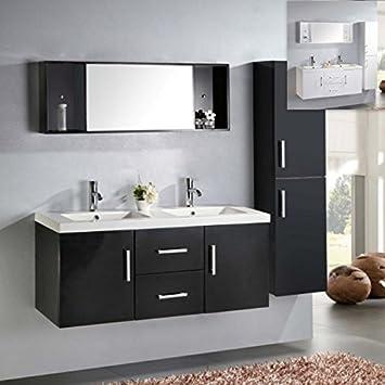 Mobile bagno nero o bianco doppio lavabo in ceramica cm 120 sospeso miscelatori e colonna inclusi