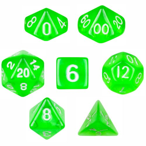 7 Die Polyhedral Dice Set - Translucent Green with Velvet Pouch By Wiz Dice
