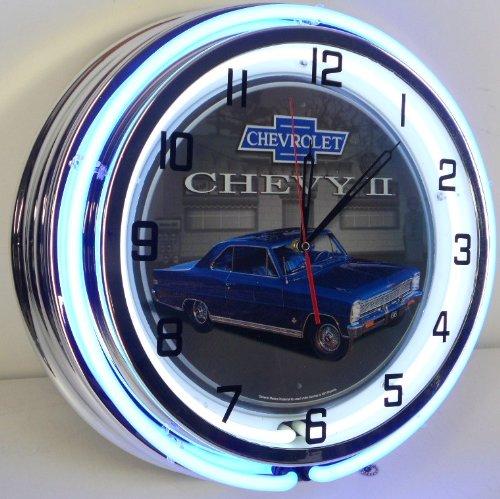 "Chevy Ii 2 Nova 18"" Double Neon Light Clock Sign Parts Garage Bowtie Emblem Ss Blue"