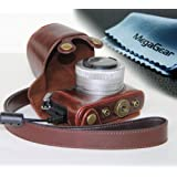 """MegaGear """"Ever Ready"""" Protective Fitted Leather Camera Case , Bag for For Panasonic LUMIX DMC-GM1 with 12-32mm Lens (Dark Brown)"""