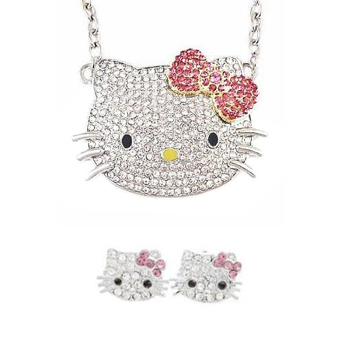 Crystal Kitty  Pink Bow Jewelry Set - 3/5
