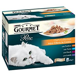 Purina Gourmet Perle Chef's Collection Mini Fillets in Gravy Wet Cat Food 12 x 85 g (Pack of 4)