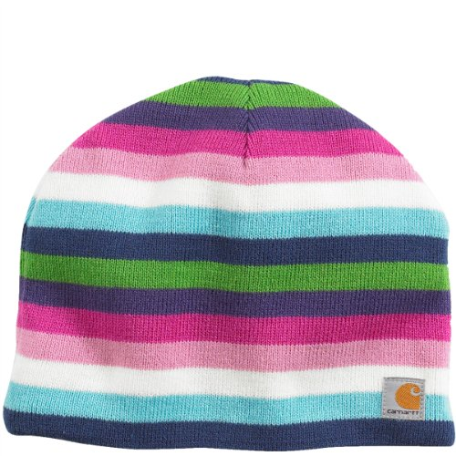 Carhartt Kids Multi Stripe Fleece-Lined Hat Pink Thistle, Youth front-868332