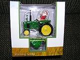 John Deere Tractor with Santa Claus Stocking Holder