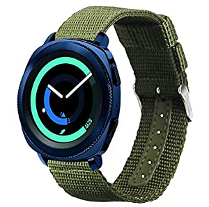 20mm Gear Sport / Gear S2 Classic Band, Olytop Nylon Canvas Fabric Replacement Sport Wristband For Samsung Gear Sport / Gear S2 Classic SM-R732 & SM-R735 Smartwatch(Army Green, 20mm)