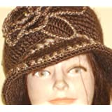Hand Crocheted Brown Color Acrylic Wool Winter Hat Trimmed with Ivory and Crocheted Rosette