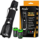 Fenix TK15C 450 Lumen Multi-Color (White/Red/Green) LED Tactical/hunting Flashlight with Two EdisonBright CR123A batteries bundle