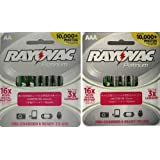 Rayovac Platinum Pre-Charged NiMH AA AAA Battery Combo Deal 4 x AA 4 x AAA
