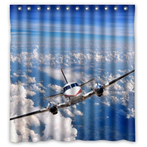 Fashionable Design Cool Airplane Designclassic Airplanes Art Waterproof Polyester Fabric Shower Curtain 66 X 72