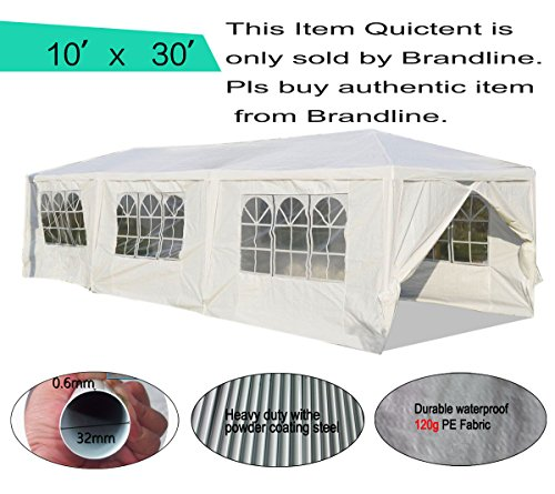 Limited Time& Qty Sale!! Quictent 10 x 30 High-grade White Gazebo Wedding Party Tent Canopy With Removable Sidewalls