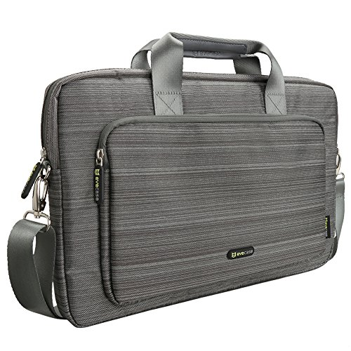Evecase 17 - 17.3 Inch Classic Padded Briefcase Messenger Bag with Shoulder Strap and Handle for Laptop Notebook Ultrabook Chromebook Computer - Gray