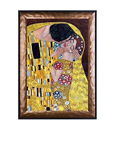Gustav Klimt's The Kiss Metallic Embellished Framed Hand Painted Oil On Canvas, Multi, 42″ x 30″