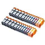 26 Pack Compatible Canon CLI-226 , PGI-225 10 Big Black, 4 Small Black, 4 Cyan, 4 Magenta, 4 Yellow for use with Canon PIXMA iP4820, PIXMA iP4920, PIXMA iX6520, PIXMA MG5120, PIXMA MG5220, PIXMA MG5320, PIXMA MX712, PIXMA MX882, PIXMA MX892. Ink Cartridges for inkjet printers. CLI-526BK , CLI-526C , CLI-526M , CLI-526Y , PGI-525BK © Blake Printing Supply