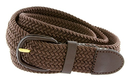 """Braided Woven Elastic Stretch Belt With Matching Leather Covered Buckle (2XL(44""""-46"""") 50.5"""" Total Length, Brown)"""
