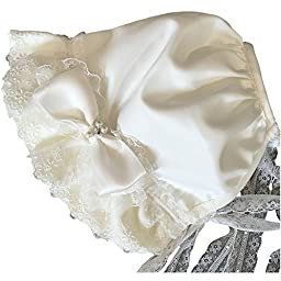 Baby Kid Infant Girl Polyester Lace String Ivory Cap Hat FM1065 6-12M