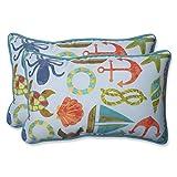 Pillow Perfect Outdoor Seapoint Summer Rectangular Throw Pillow, Blue, Set of 2