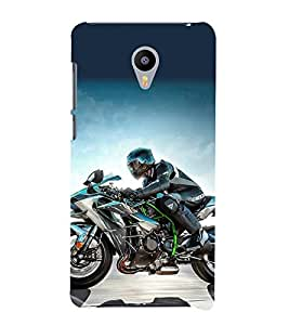printtech Superfast Bike Rider Back Case Cover for meizu m2