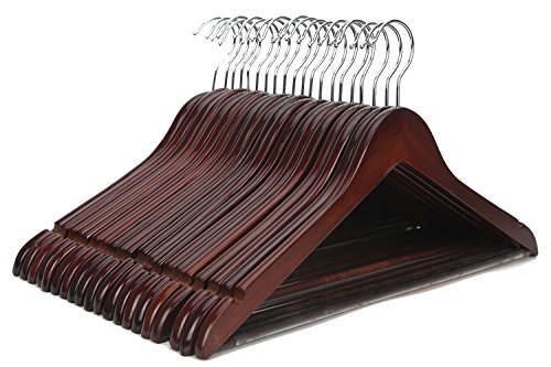 J.S. Hanger Solid Wooden Suit Hangers Walnut Finish with Polished Chrome Hooks - 20 Pack (Wooden Clothes Hanger compare prices)