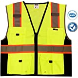 KwikSafety Class 2 Deluxe High Visibility Safety Vest with Reflective Strips and Pockets - Meets ANSI/ISEA Standards, Yellow, Size Large/XL
